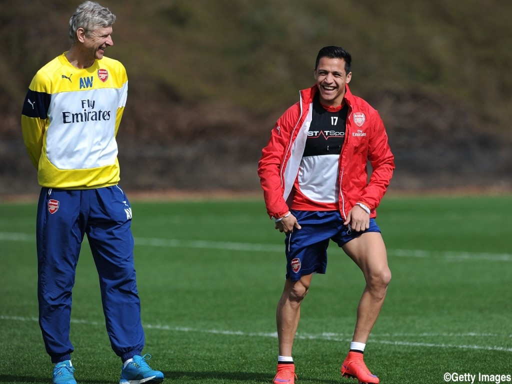 ST ALBANS, ENGLAND - APRIL 10: of Arsenal during a training session at London Colney on April 10, 2015 in St Albans, England. (Photo by Stuart MacFarlane/Arsenal FC via Getty Images)